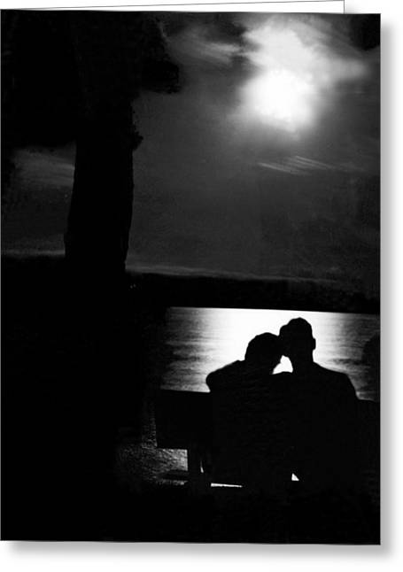 Lovers Sitting Moonlight Greeting Card
