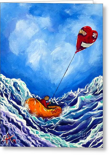 Love's Castaway Greeting Card by Jackie Carpenter