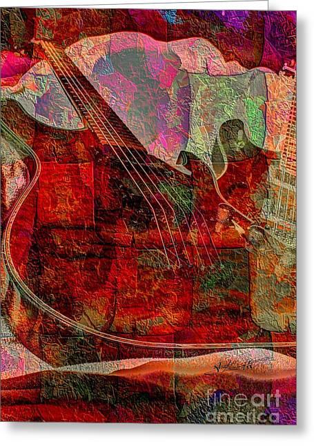 Lovin The Sound Digital Guitar Art By Steven Langston Greeting Card by Steven Lebron Langston