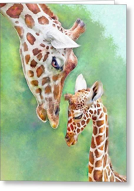 Greeting Card featuring the digital art Loving Mother Giraffe2 by Jane Schnetlage