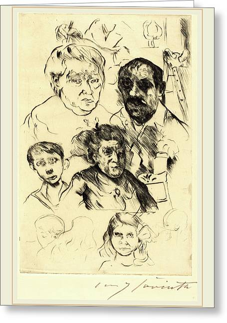 Lovis Corinth, Assorted Heads And Self-portrait Greeting Card
