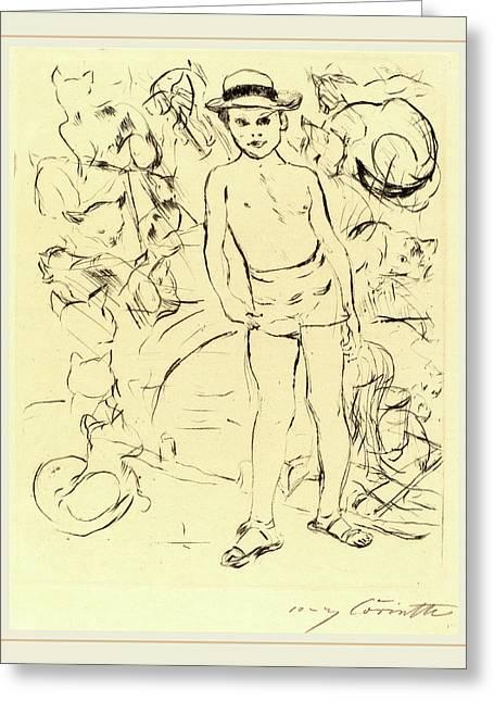 Lovis Corinth, Boy Wearing Bathing-trunks And Straw Hat Greeting Card