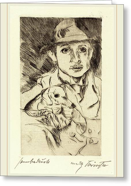 Lovis Corinth, Boy With Dog Knabe Mit Hund Greeting Card by Litz Collection