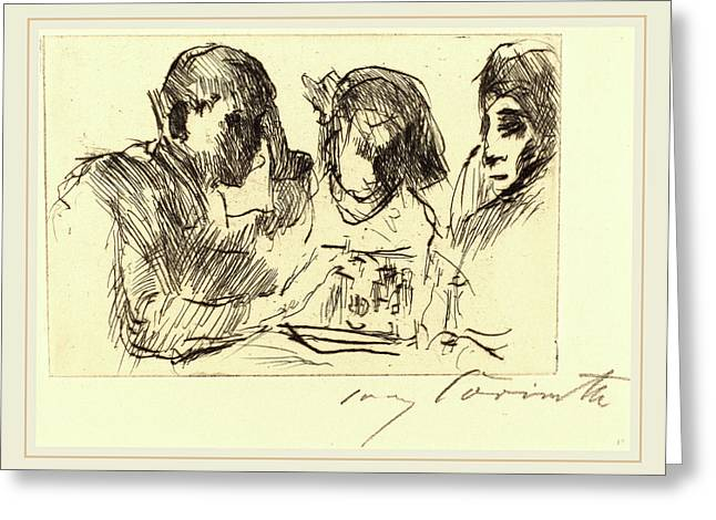 Lovis Corinth, Chess Players Schachspiel Greeting Card by Litz Collection