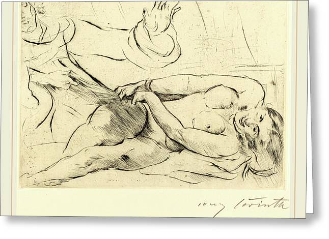 Lovis Corinth, Joseph And Potiphars Wife-ii Joseph Und Greeting Card