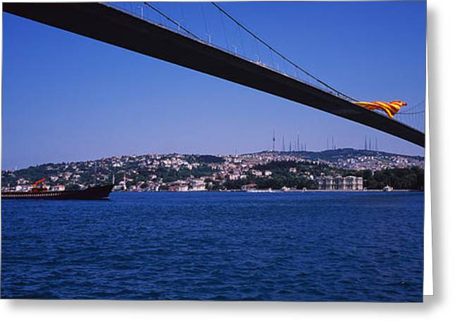 Low Angle View Of A Bridge, Bosphorus Greeting Card