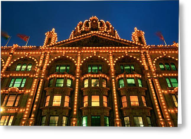 Low Angle View Of A Building Lit Greeting Card