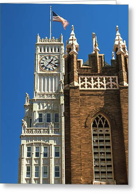 Low Angle View Of A Clock Tower, Lamar Greeting Card by Panoramic Images