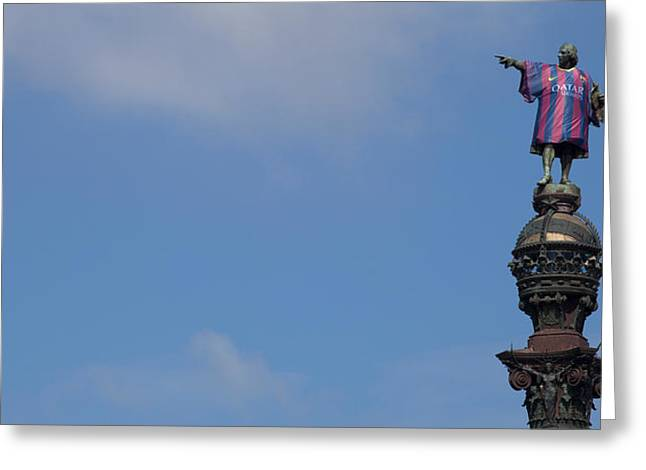 Low Angle View Of A Monument, Columbus Greeting Card by Panoramic Images