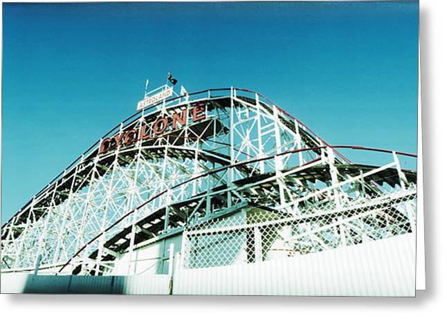 Low Angle View Of A Rollercoaster Greeting Card
