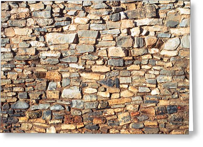 Low Angle View Of A Stone Wall, New Greeting Card