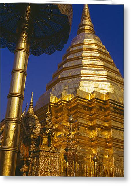 Low Angle View Of A Temple, Wat Greeting Card by Panoramic Images