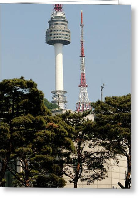 Low Angle View Of A Tower, N Seoul Greeting Card by Panoramic Images