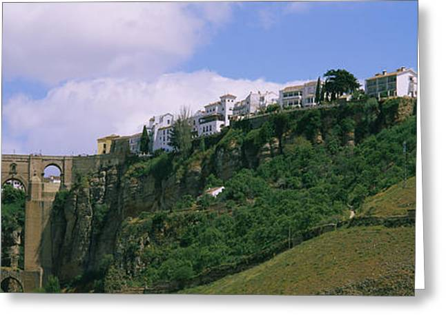 Low Angle View Of A Town, Tajo Bridge Greeting Card