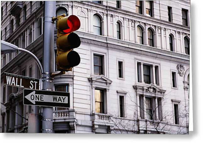 Low Angle View Of A Traffic Light Greeting Card by Panoramic Images