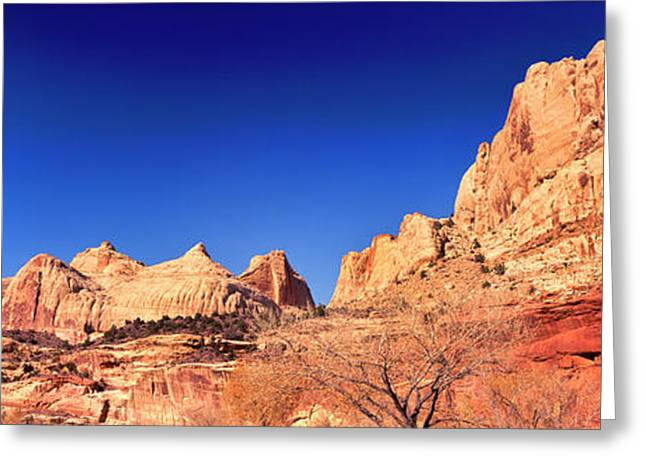 Low Angle View Of Cliff In Capitol Reef Greeting Card