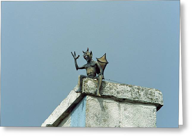 Low Angle View Of Dragon Weather Vane Greeting Card