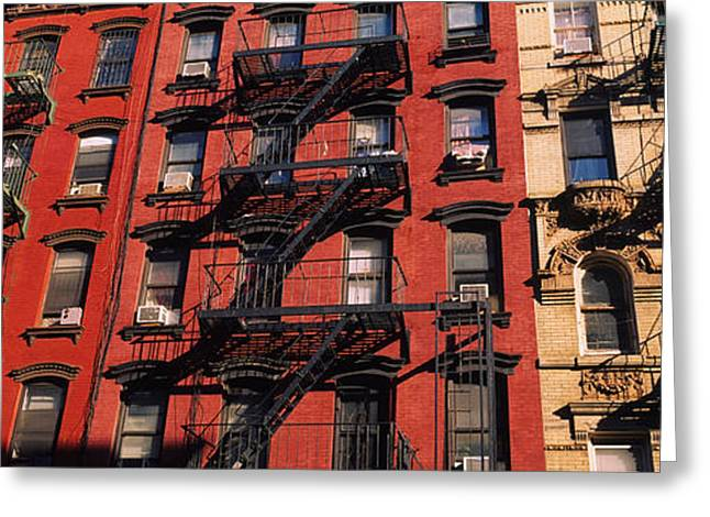 Low Angle View Of Fire Escapes Greeting Card by Panoramic Images