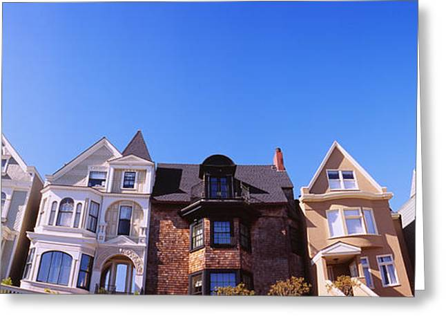Low Angle View Of Houses In A Row Greeting Card by Panoramic Images
