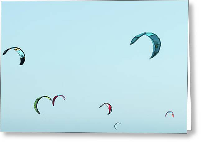 Low Angle View Of Kite Surfers, Santa Greeting Card by Panoramic Images