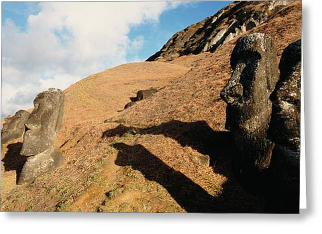 Low Angle View Of Moai Statues, Tahai Greeting Card