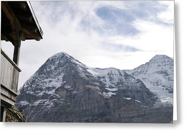Low Angle View Of Mt Eiger And Mt Greeting Card