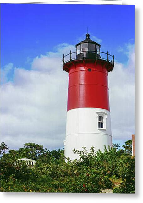 Low Angle View Of Nauset Lighthouse Greeting Card by Panoramic Images