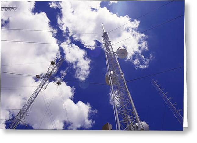 Low Angle View Of Radio Antennas Greeting Card