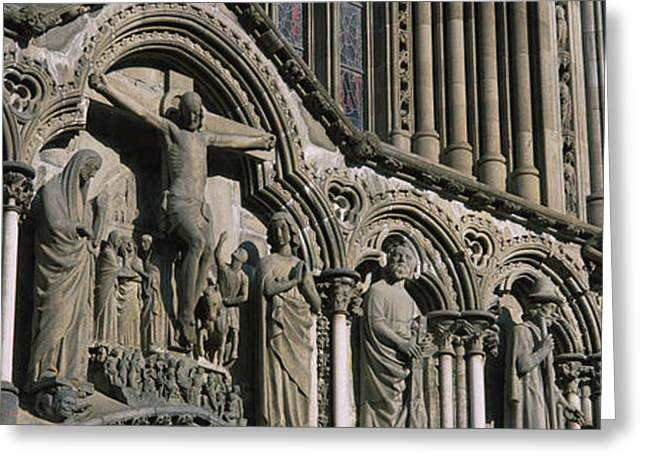 Low Angle View Of Statues Carved Greeting Card by Panoramic Images