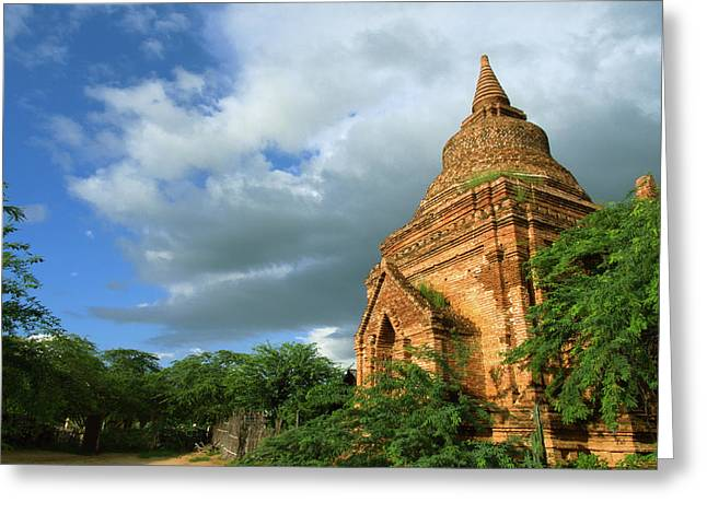 Low Angle View Of Stupa In Min Nan Thu Greeting Card