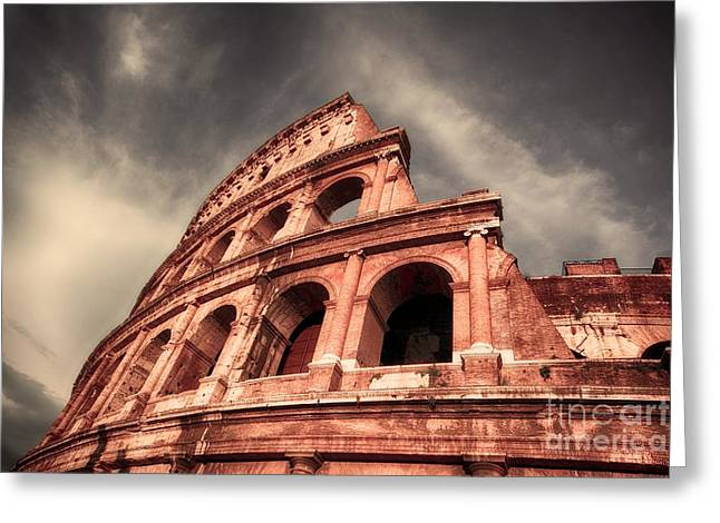 Low Angle View Of The Roman Colosseum Greeting Card by Stefano Senise