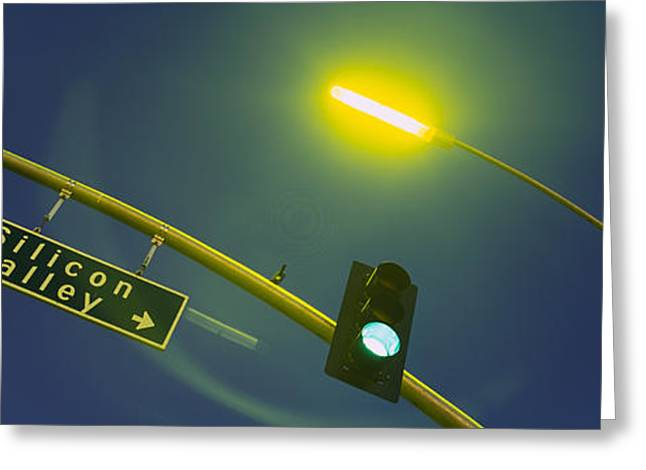 Low Angle View Of Traffic Light Greeting Card