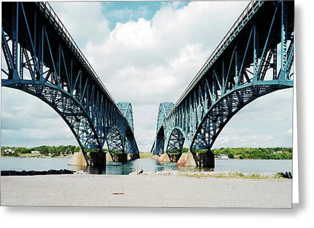 Low Angle View Of Two Bridges, North Greeting Card