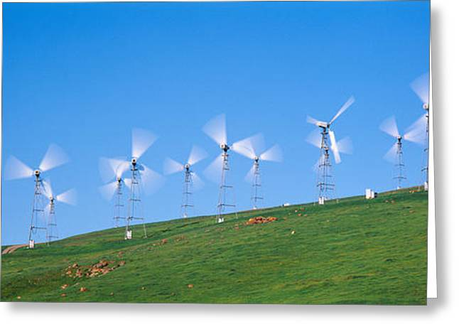 Low Angle View Of Wind Turbines Greeting Card