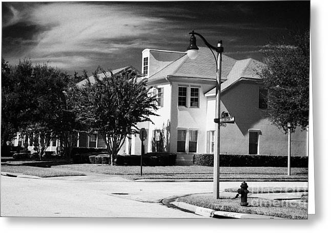 Low Density Residential Housing Real Estate In Celebration Avenue Florida Usa Greeting Card by Joe Fox