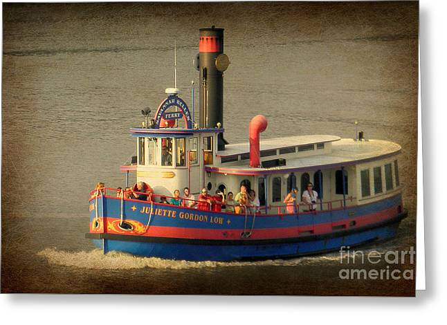 Low Ferry Greeting Card by Valerie Reeves