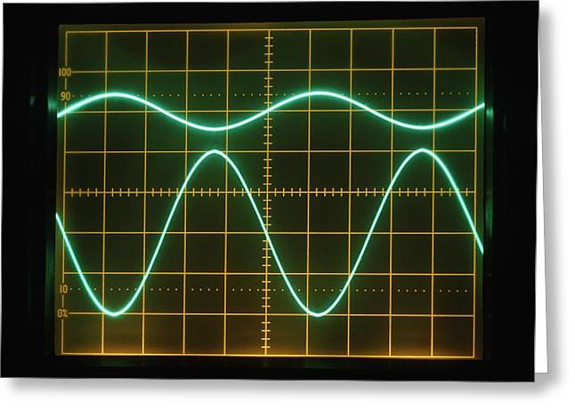 Low Frequency Sine Waves On Oscilloscope Greeting Card by Dorling Kindersley/uig