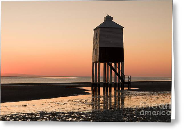 Low Lighthouse Sunset Greeting Card by Anne Gilbert