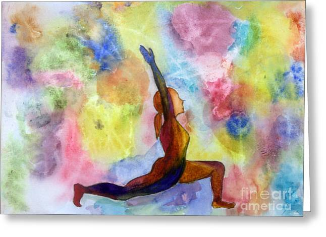 Low Lunge Yoga Pose Greeting Card by Donna Walsh