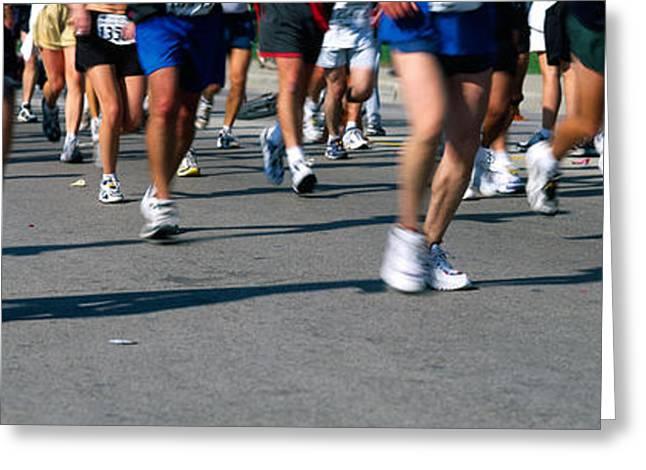 Low Section View Of People Running Greeting Card by Panoramic Images