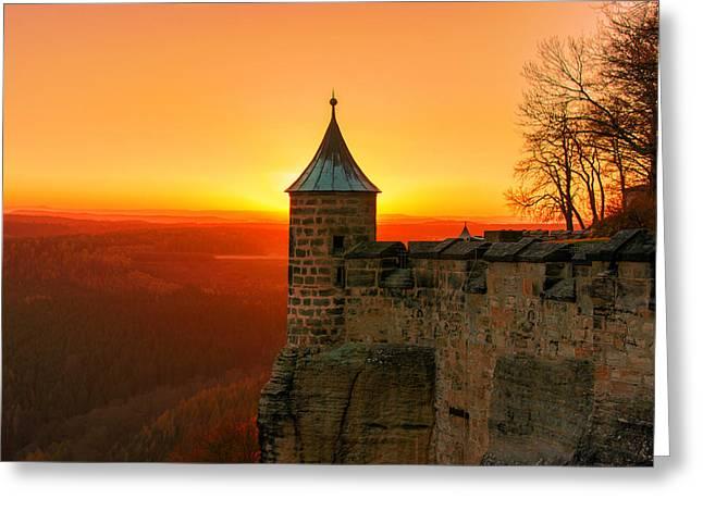 Low Sun On The Fortress Koenigstein Greeting Card