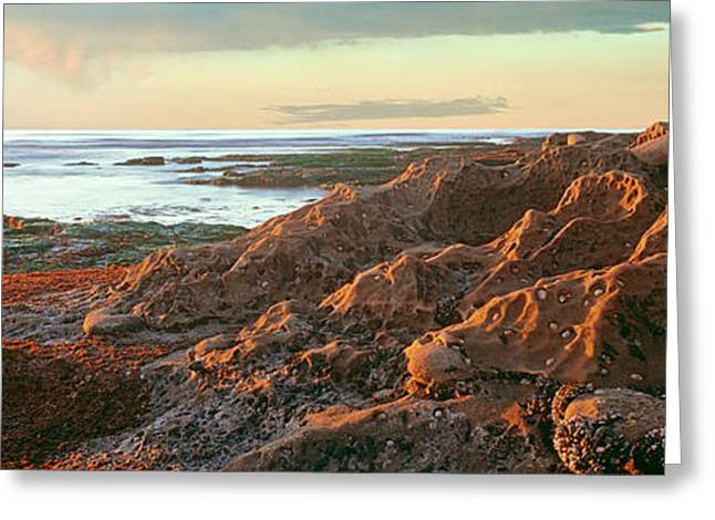 Low Tide At Coast During Sunset Greeting Card by Panoramic Images