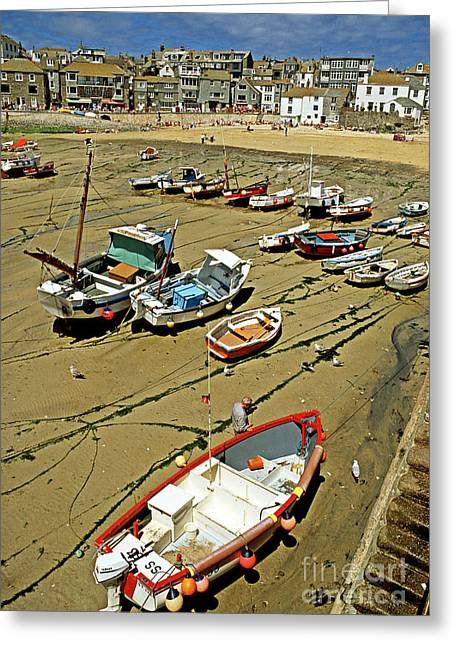 Low Tide At St Ives Cornwall Uk 1990 Greeting Card by David Davies
