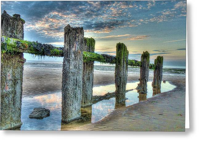 Low Tide Groynes Greeting Card