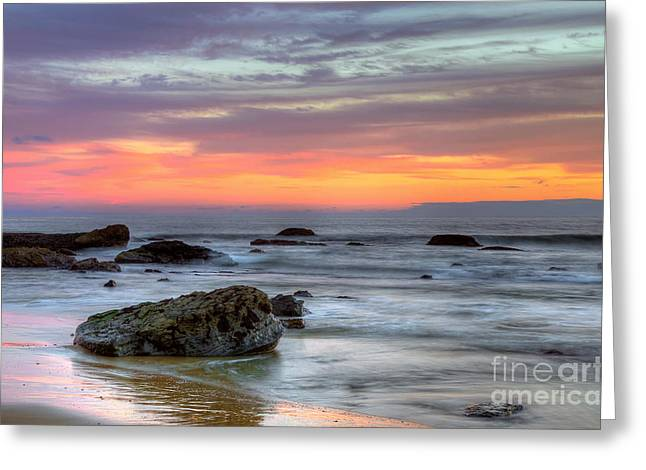Low Tide In Newport Beach Greeting Card by Eddie Yerkish