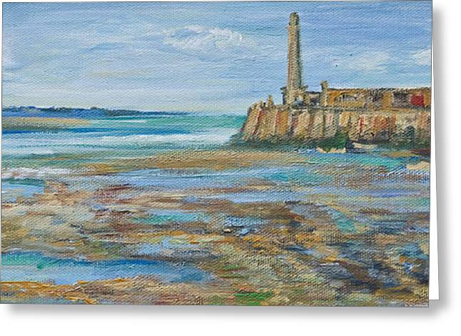 Low Tide In The Harbour. Greeting Card
