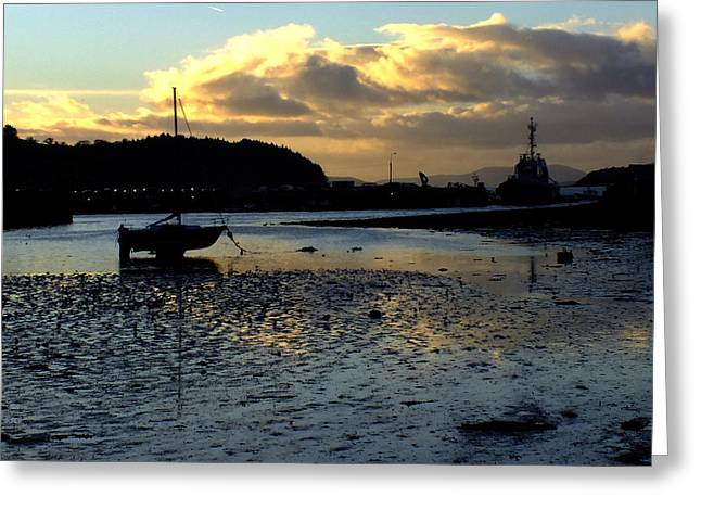 Low Tide On The Harbour Greeting Card