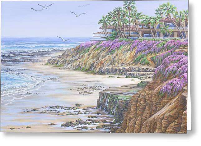 Greeting Card featuring the painting Low Tide Solana Beach by Jane Girardot