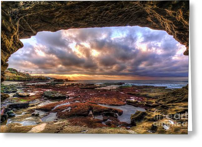 Low Tide Sunset In La Jolla Greeting Card by Eddie Yerkish