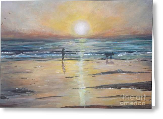 Low Tide Sunset. Southern California  Greeting Card by Linea App